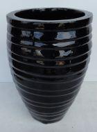 Lapped Water Jar - Shiny Black