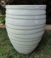 Lapped Water Jar - White